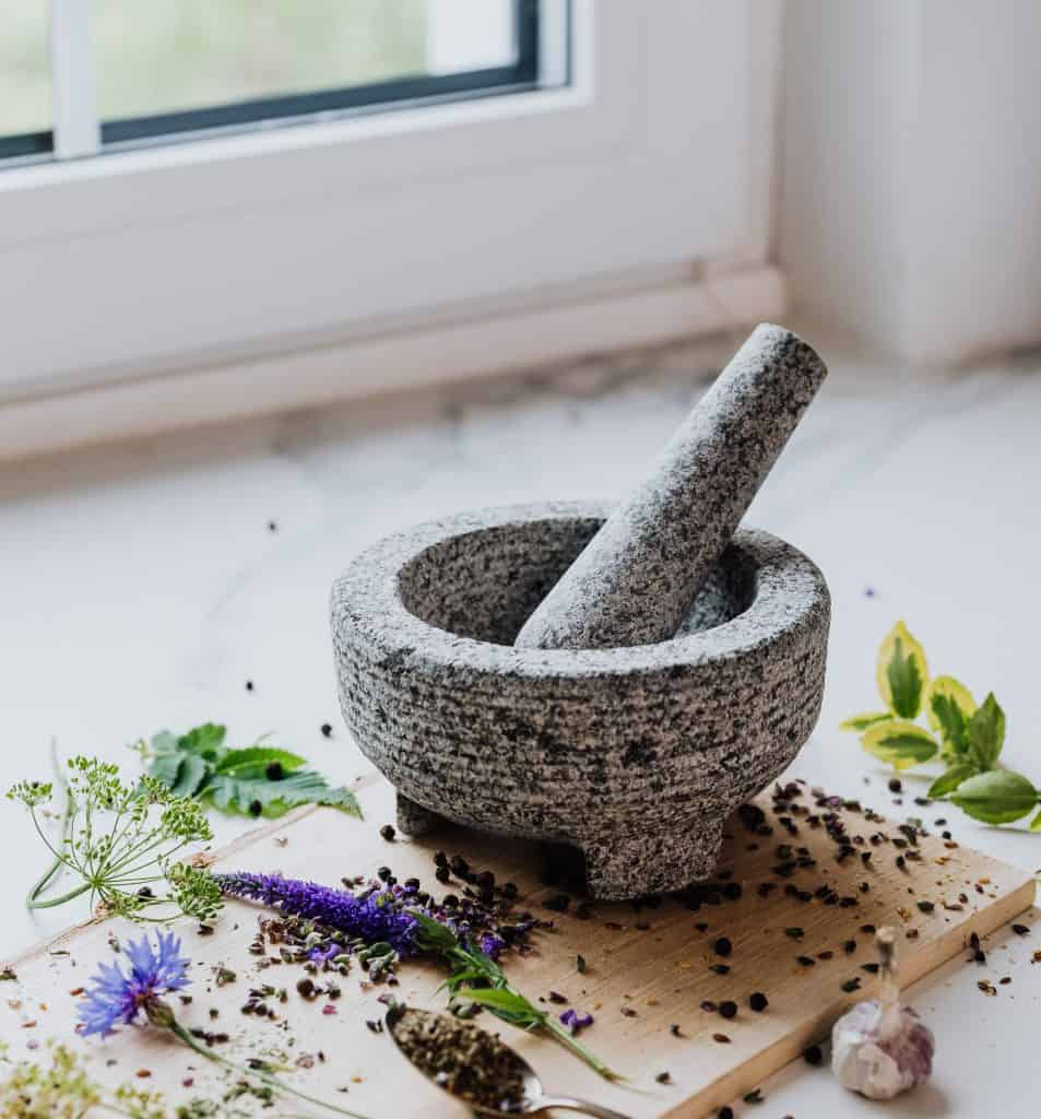 Mortar and pestle used for blending herbs and vegetables