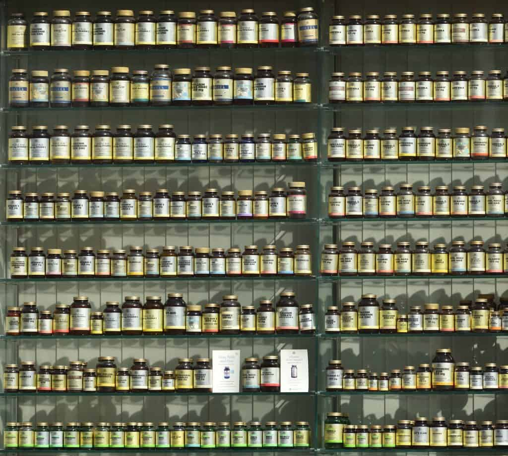 Vitamin and mineral supplements at the grocery store or pharmacy