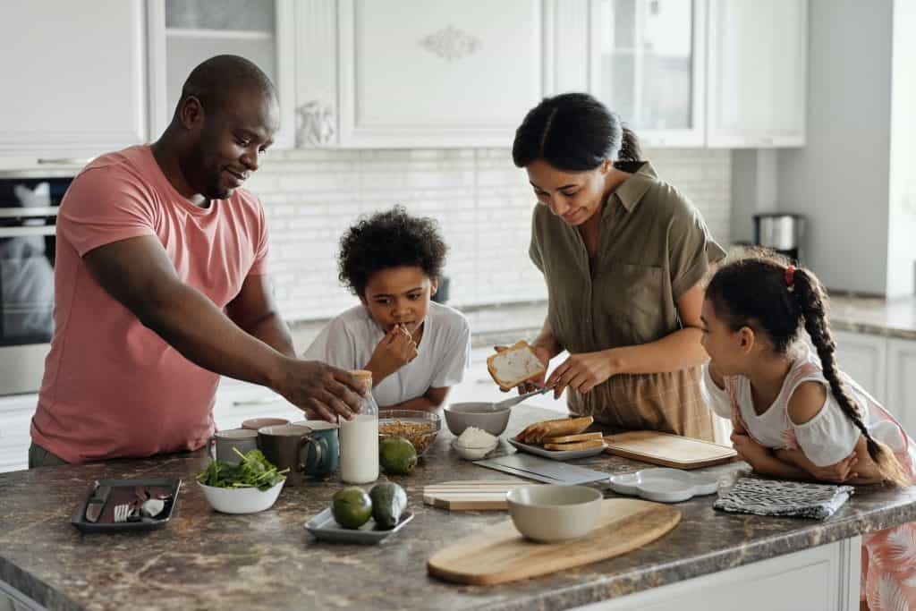 Family making healthy food