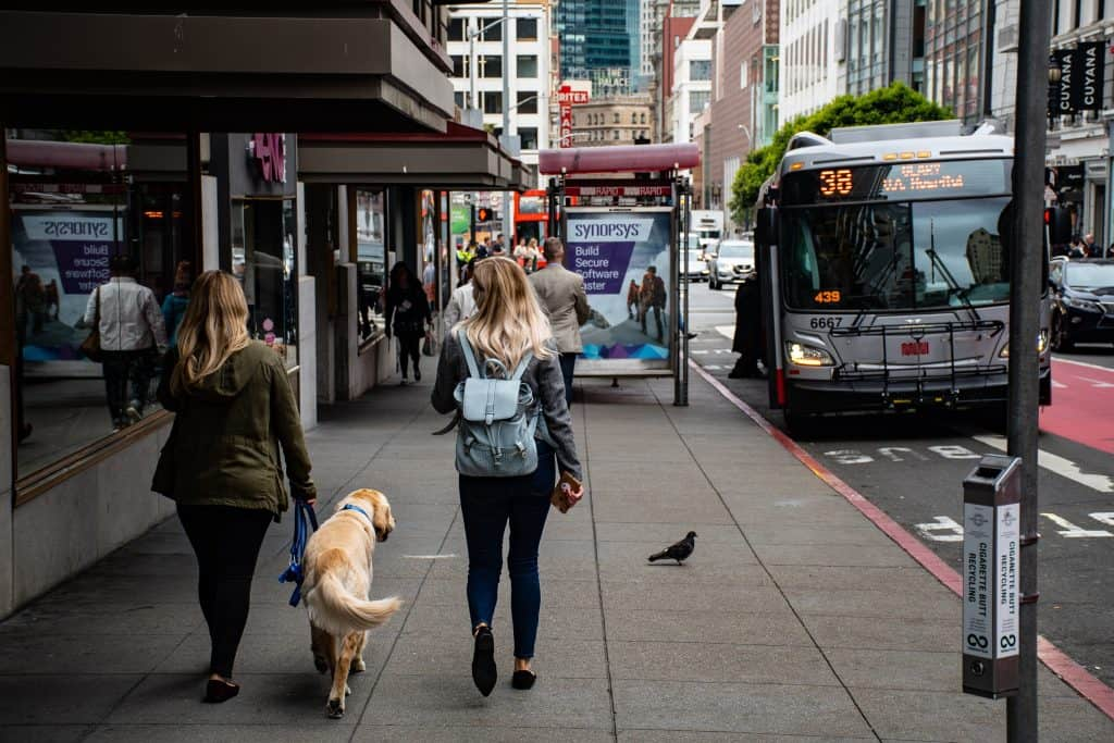 Walking down a busy city street