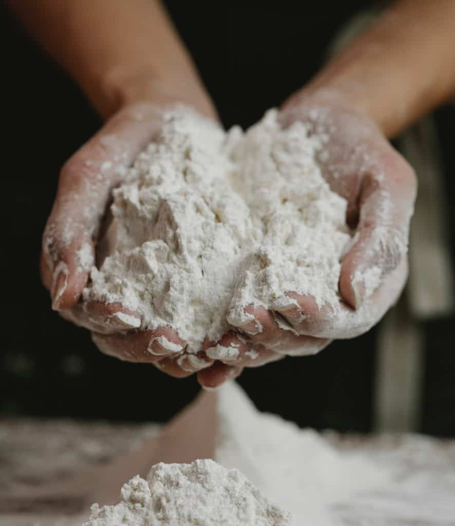 Processed flour in hands